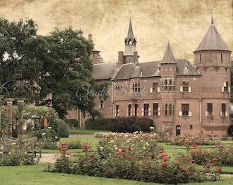 """Castle Art, Europe Travel Castle Print, Dutch Chateau Print, Home and Garden Art, Holland Landscape Print, Architecture- """"Dutch Castle II"""""""
