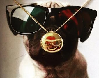 3D Sunglasses Emoji Pendant, Sunglasses Emoji Necklace, Sunglass Emoji Jewelry, Sunglasses Emoji Jewelry, Shades, Emoji Jewelry