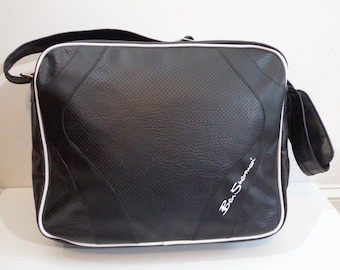 Ben Sherman Messenger Bag, Laptop Briefcase Tote Black with White Piping, Adjustable Padded Strap Fashion Accessory