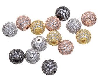 High Quality Bulk 5 Micro Pave CZ Cubic Zirconia Beads 5mm (CN0077)