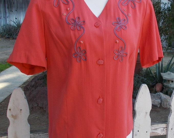 Vintage 80s Graff Californiawear Orange Tangerine Embellished Floral Polyester Casual Career Womens Short Sleeve Blouse Top