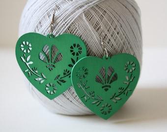 Green Big LOVE Wood Earring