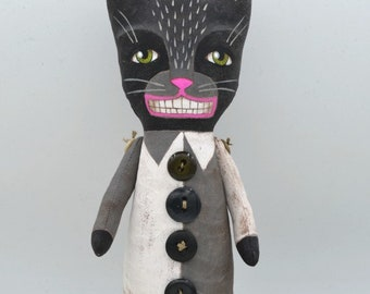 Black Cat Doll Halloween Decor Original Hand Painted Cloth Folk Art Sculpture OOAK