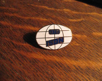 GTE ISDN Lapel Pin - Vintage 1980's General Telephone & Electic Company Hat Pin