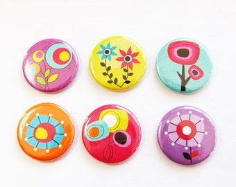 Flower Magnets, Nature Magnets, Floral magnets, Flowers, Floral, button magnets, Kitchen Magnets, Abstract Design, stocking stuffer (3302)