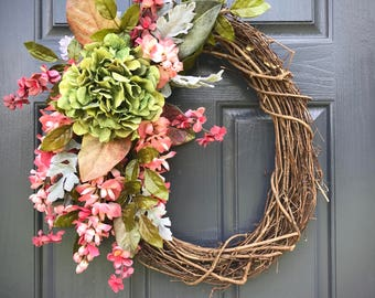 Fall Wreath, Pink Green, Fall Door Decor, Fall Decorating, Fall Wreaths for Door, Gift for Her, Hydrangea Wreaths, Fall Hydrangeas