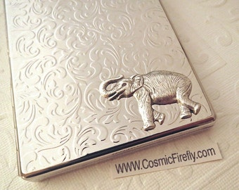Elephant Cigarette Case Silver Elephant Case Steampunk Wallet Silver Case Holds Oversized Business Cards Unisex Cigarette Case Trunk Up