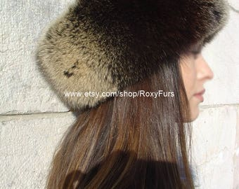 Brown Fox Fur & Cashmere Hat