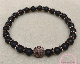 Matted Onyx Stretch Bracelet with Copper-Toned Mandala Bead; 6mm Matted Onyx Beads