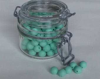set of 5 Mint 12mm silicone round beads