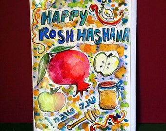 Happy Rosh Hashana, Shana Tova, Hand Painted Card, L'shana Tova, Apple in Honey, Jewish Holidays, Original Watercolor Painting, Judaica Art