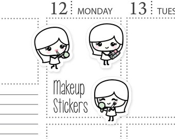 Makeup Stickers - Makeup Girl Stickers - Blushies Makeup Planner Stickers for Your Planner