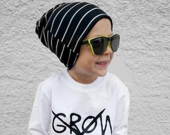 BABY SLOUCHY BEANIE - white striped beanie - slouchy baby hat - slouchy beanie - baby boy slouchy hat - baby boy hipster beanie - beanie