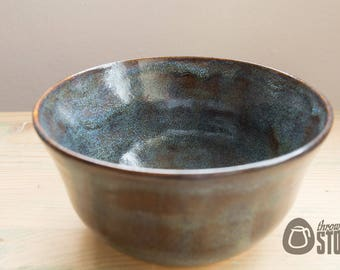 Decorative Bowl -  Blue and Toffee Stoneware Bowl - Home Decor