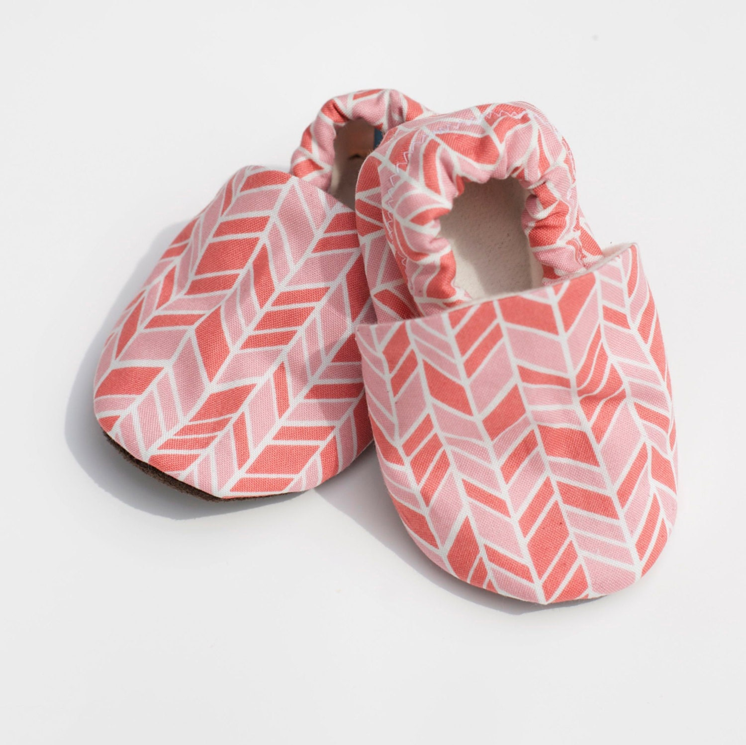 Baby Girl Shoes fset Chevron Pink and Coral 0 3 6 12 18