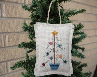 Cross Stitch Christmas Tree Ornament Completed