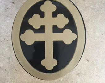 Made to order custom hitch cover Cross of Lorrine