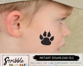 Printable temporary tattoos - fake tattoos PDF - Basketball Cheer - Paw Prints - wildcat bobcat cougar leopard mascot - DIY tattoo PDF mom