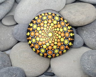 Hand-Painted Mandala Stone - Boho - Painted Rock - Yellow & Orange Mandala Meditation Rock - Painted Stone - Chakra