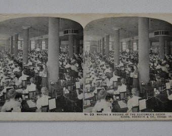 Antique Stereograph Stereoview Photo Photograph Picture Industrial Staff Sears Roebuck Chicago