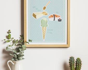 "Fine art print ""I love you""-A4-customizable-Valentine's Day gift-love, couple, home decor"