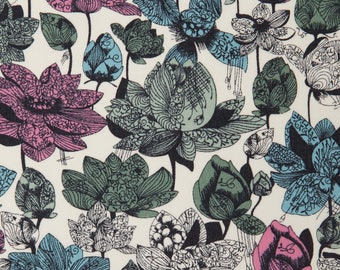 LIBERTY® fabric print Asaka pink-turquoise-green 4159D / 10 cm