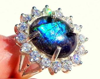 Sz 7, Rare Ammolite,Petrified Stone,Natural Blue Gemstone,Rare Stone Ring,Gemstone Jewelry,Collectors Stone