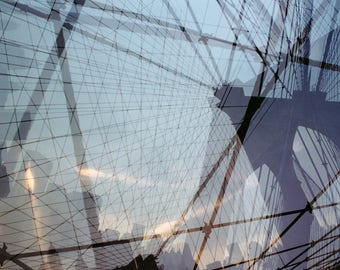 the cage #3: surreal new york photography. brooklyn bridge print. blue nyc wall art. geometric nyc decor. fine art multiple exposure photo.