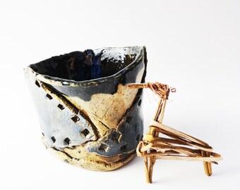Rustic Primitive Tumbler, OOAK, Pencil Holder, 13 oz, Asparagus Keeper, Tool Holder, Black Blue Brown, Brutalist Pottery