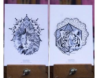 Lot 2 cards postcards geometric cats & Mandalas