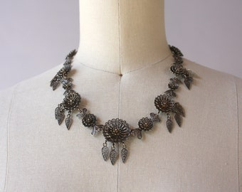 Victorian Filigree Necklace / Antique Silver Filigree Fringe Necklace / Vintage Victorian Floral Filigree Necklace