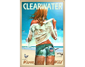 Clearwater Florida Pinellas County Beach Pin Up Poster New Retro Gulf of Mexico Tropical Art Print 267