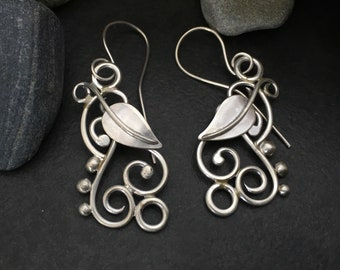 Sterling silver leaf earrings, flowing and delicate individually handcrafted leaves and tendrils, vines