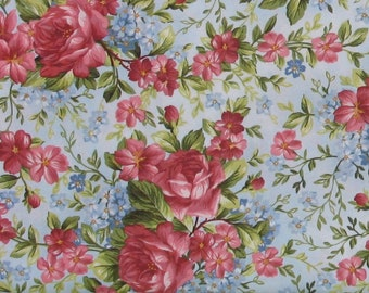 Pink and Red Roses with Blue Flowers on Light Blue Cotton Quilt Fabric, Focal Print, Roses on the Vine by Marti Michell, Yardage, MAS8432-B