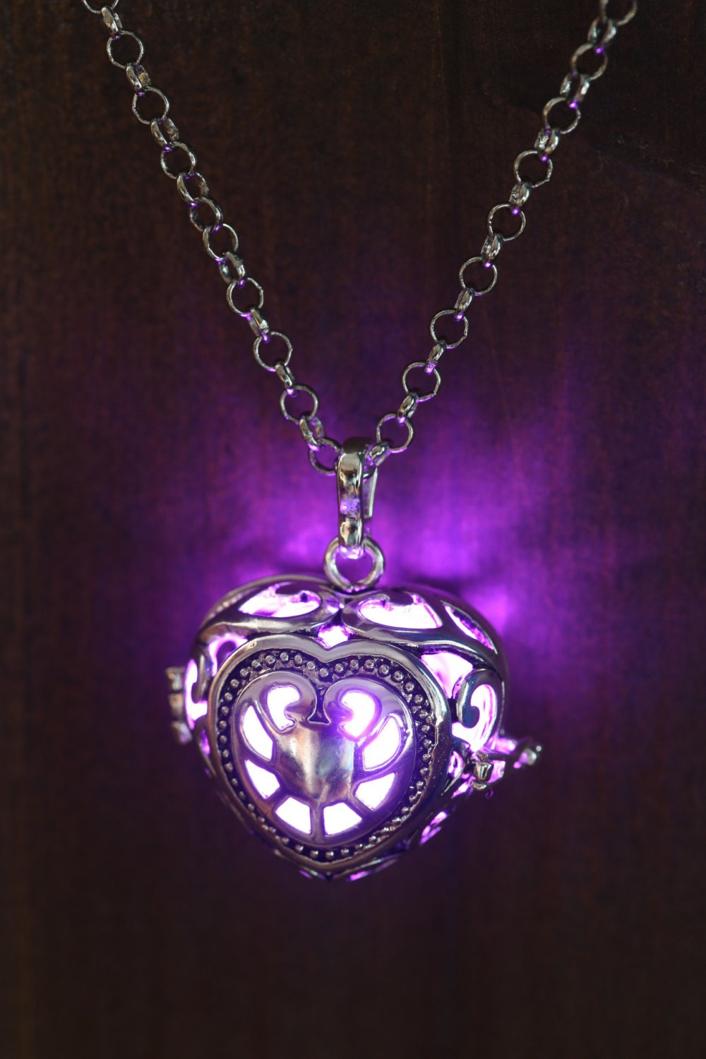 tradesy necklace purple swarovski heart i