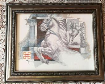 "Gobelin Tapestry Handmade ""Emperors Horse"" Wall Hanging Tapestry"