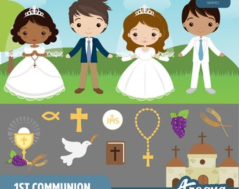 1st Communion Boys & Girls Clipart Set - Instant Download - PNG Files.