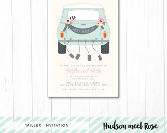 Printable - The 'Miller' Modern Wedding Invitation | Classic Car | Mini | Cooper | Just Married
