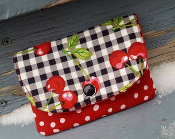 Cherry Business Card Holder, Small Gingham Wallet, Cherry Wallet, Small Pocket Wallet