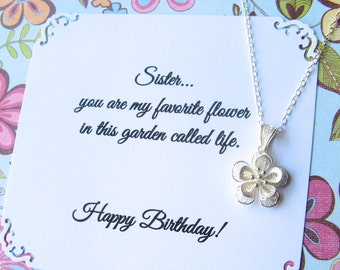 SISTER NECKLACE - Sisters Jewelry - Birthday Sterling Silver POEM Included Favorite Flower Garden of Life Filigree Flower Pendant Gift Boxed