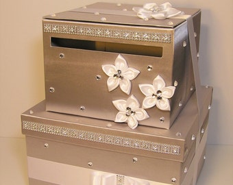 Wedding  Card Box Silver and White Gift Card Box  Money Box Holder-Customize your color