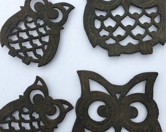 Vintage Metal Owl Trivets Set of 4 Two Sizes
