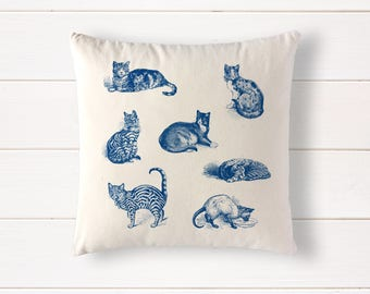 "Cats in French Blue pillow, 100% natural cotton throw cushion, cat decor, cat gift, 15""x15"""