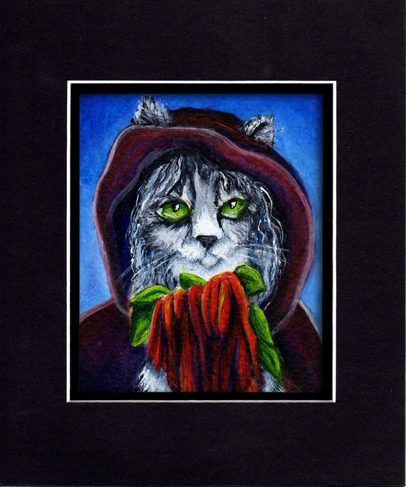 Cat Art, Grey Cat in Cloak Holding Amaranthus Flowers 8x10 Fine Art Print