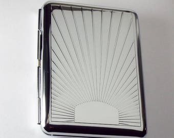 Engraved Personalized Business Card Case or Kings Cigarette Case Double Sided Sun Ray Design  -Hand Engraved