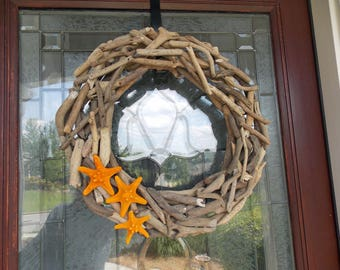 doors coastal wreath nautical natural driftwood wreaths pin door front