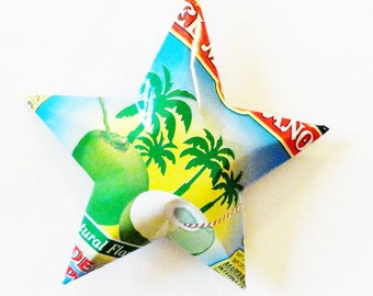 El Mexicano Coconut Water Stars, Christmas Ornaments, Aluminum Can Upcycled