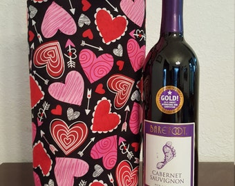 Lovely Hearts Reversible Wine Tote