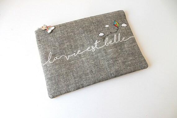 """Linen dress handkerchief """"life is beautiful"""""""