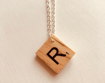 Most LETTERS IN STOCK! Personalised Initial Game Tile Necklace - Scrabble -